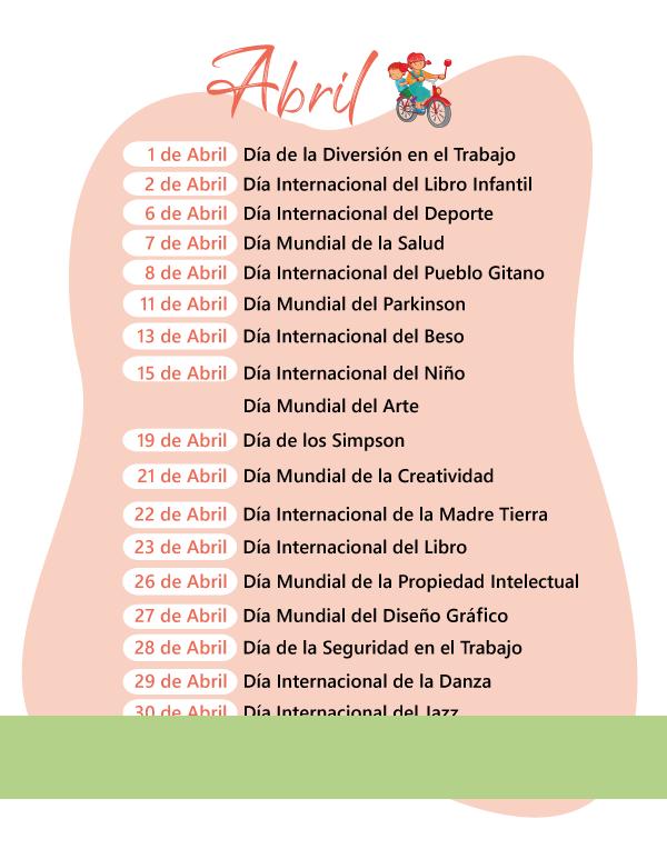 Calendario Abril 2013 Mexico