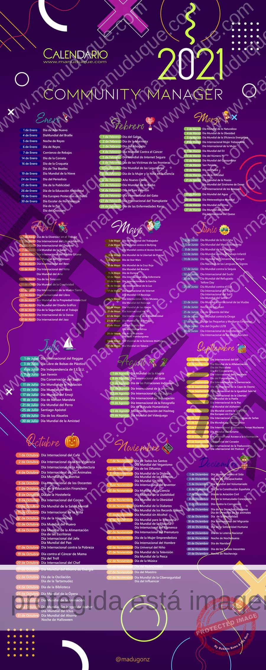 Calendario Del Community Manager Y Social Media 2021 Pdf Blog Community Manager Seo